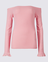 Limited Edition Cotton Blend Striped Long Sleeve Bardot Top