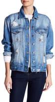Kensie Embellished Distressed Denim Jacket