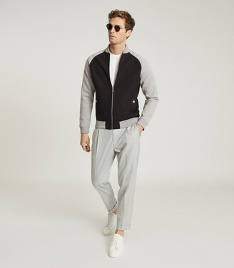 Reiss Nathan - Neoprene Bomber Jacket in Black/Grey