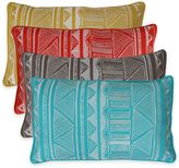 Thro Tracey Embroidered Tribal Sketch Oblong Throw Pillow