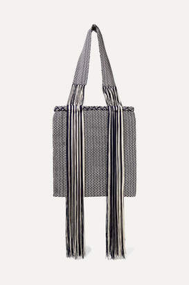 Sophie Anderson Joss Fringed Woven Tote - Midnight blue