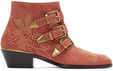 Chloé Red Suede Studded Susanna Boots