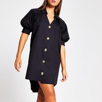River Island Black short puff sleeve mini shirt dress