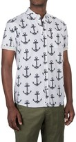 Free Nature Anchor Printed Shirt - Woven Cotton, Short Sleeve (For Men)