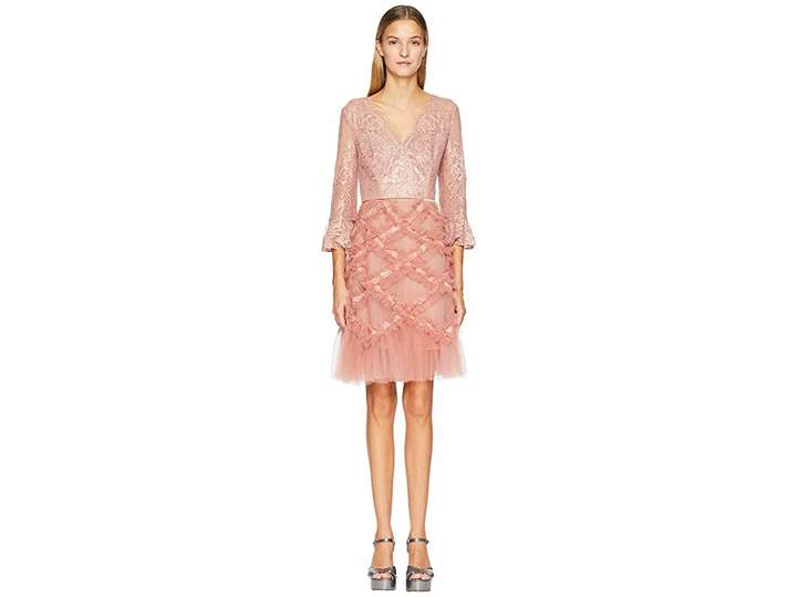 Marchesa 3/4 Sleeve V-Neck Lattice Cocktail Dress