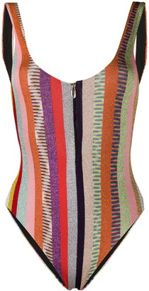 Missoni Mare Striped Zip-Front Swimsuit