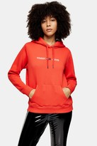 Tommy Hilfiger Womens Clean Logo Hoodie By Tommy Jeans - Red