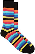 Corgi MEN'S STRIPED COTTON-BLEND MID-CALF SOCKS