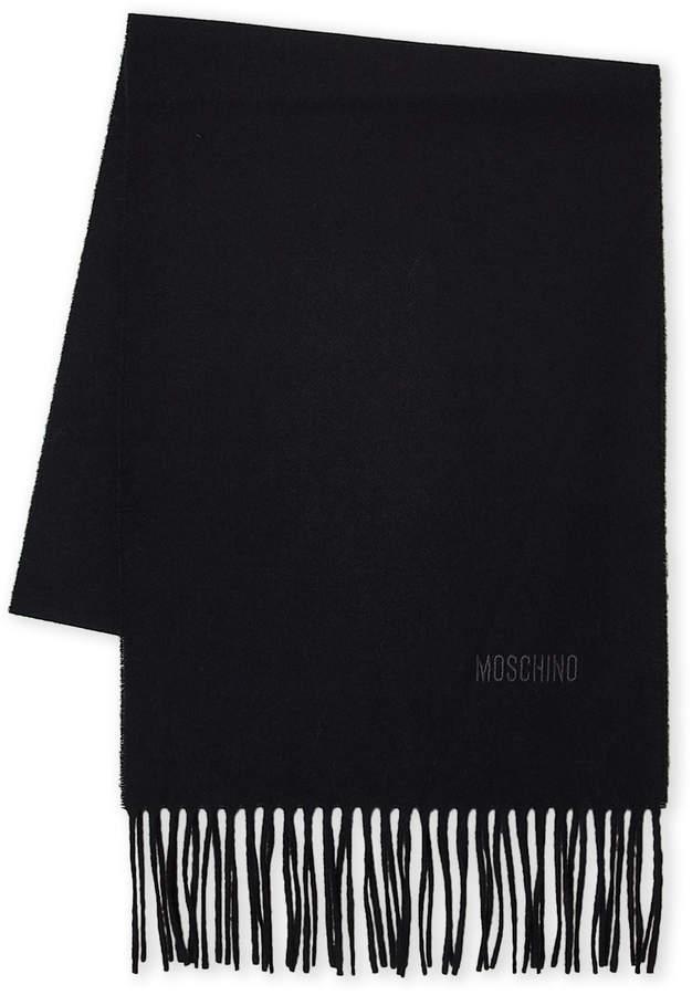 Moschino Fringe Logo Wool Scarf