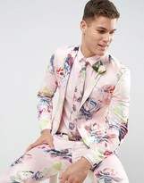 Asos Wedding Super Skinny Suit Jacket With Nude Floral Print