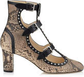 Jimmy Choo HARTLEY 65 Nude Matt Shaded Python and Black Shiny Leather Round Toe Booties with Studs