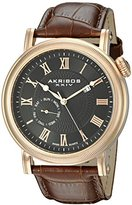 Akribos XXIV Men's AK673RG Swiss Quartz Movement Watch with Black Dial and Coin Edged Bezel with Brown Leather Strap