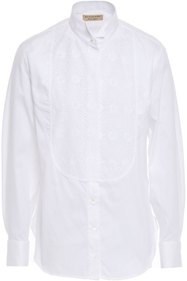 Burberry Broderie Anglaise Cotton And Mulberry Silk-blend Shirt