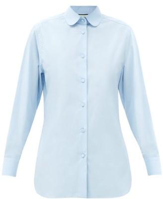 Gucci Club-collar Cotton-poplin Shirt - Light Blue