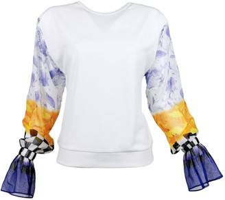 Lalipop Design Viscose Blouse With Crinkle Chiffon Sleeves