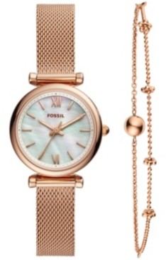 Fossil Women's Carlie Mini Rose Gold-Tone Stainless Steel Mesh Bracelet Watch Box Set 28mm