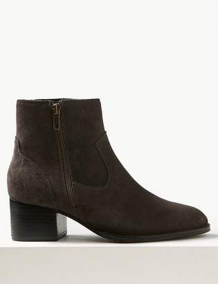 M&S CollectionMarks and Spencer Wide Fit Suede Block Heel Ankle Boots