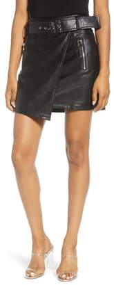 J.o.a. Faux Leather Wrap Miniskirt
