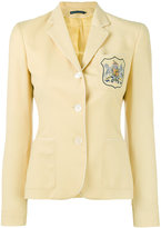 Ralph Lauren embroidered emblem blazer - women - Viscose/Wool - 4