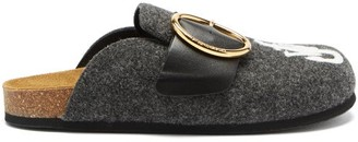 J.W.Anderson Logo-embroidered Buckled Felt Backless Loafers - Grey Multi