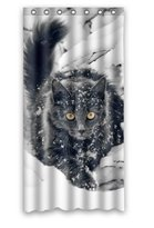 Shower Curtains Home Fashion Healthy Animal Pet Playing Cute White Snow Cats Shower curtain, (W*H) 36*72 inch / 91*183 cm, Polyester, best for Decorative