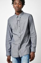 PacSun Chambray Extended Length Long Sleeve Button Up Shirt
