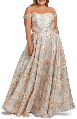 Mac Duggal Metallic Floral Jacquard Off the Shoulder Ballgown