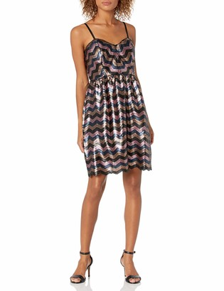 Minuet Women's Multi Colored Zig-zag Sequin Dress Medium