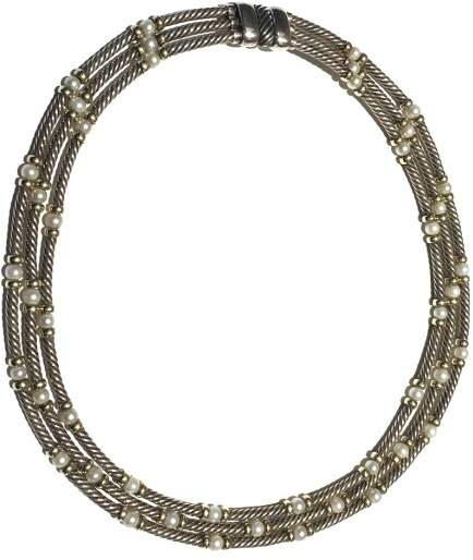 David Yurman Hampton 14K Yellow Gold & Sterling Silver Cultured Pearls Triple Cable Collar Necklace