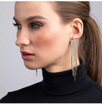 Kenneth Jay Lane Gold And Crystal 6 Strand Pierced Earrings