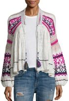 Free People Dreamland Intarsia Printed Cardigan
