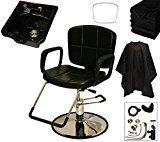 LCL Beauty Reclining Hydraulic Cutting & Shampoo Barber Chair & Acrylic Fiber Bowl Salon Package