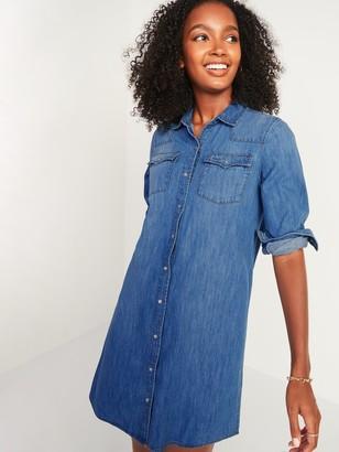 Old Navy Western Jean Shirt Shift Dress for Women