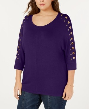 Belldini Belle by Plus Size Grommet-Trim 3/4-Sleeve Top