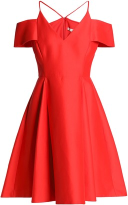 Halston Flared Cold-shoulder Cotton And Silk-blend Dress