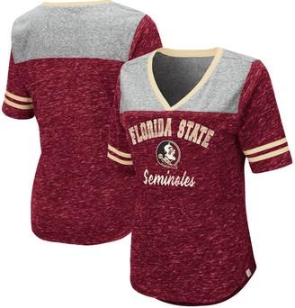 Colosseum Women's Heathered Garnet Florida State Seminoles Mr. Big V-Neck T-Shirt