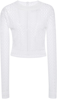 Oscar de la Renta Long Sleeve Jewel Neck Knit Top