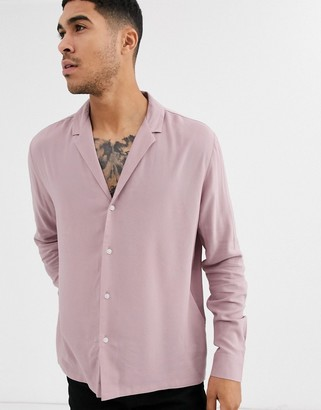 Asos Design DESIGN relaxed deep revere viscose shirt in dusty pink