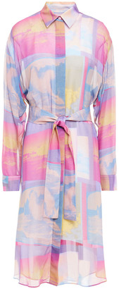 Paul Smith Belted Printed Georgette Midi Shirt Dress
