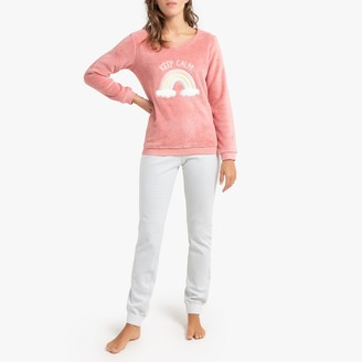 La Redoute Collections Long-Sleeved Fleece Pyjamas with Keep Calm Rainbow Slogan