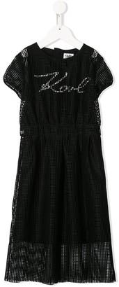 Karl Lagerfeld Paris Logo Mesh Short-Sleeve Dress