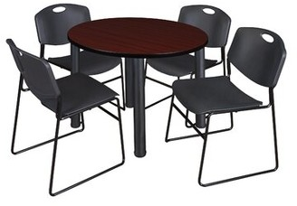"""Symple Stuff Leiser Round Table with 4 Zeng Chairs Base Finish: Black, Top Finish: Mahogany, Size: 29"""" H x 36"""" W x 36"""" D"""