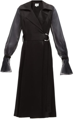 Galvan Balloon-sleeves Satin Wrap Dress - Black