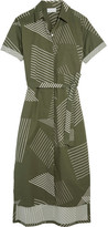 DKNY Printed Cotton-blend Midi Dress - Army green