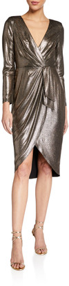 Aidan Mattox Foiled Jersey Draped Long-Sleeve Dress