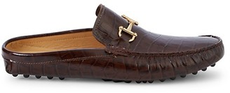 Saks Fifth Avenue Croc-Embossed Leather Mules