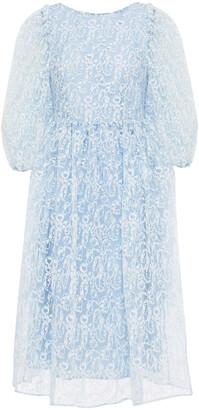 Shrimps Fredrick Bow-embellished Embroidered Organza Dress