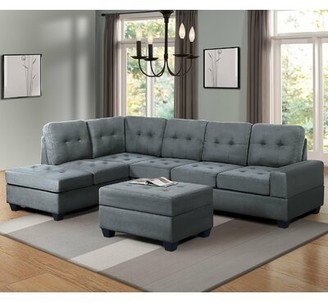 """Red Barrel Studio Njord 71"""" Left Hand Facing Sectional with Ottoman Upholstery Color: Gray"""