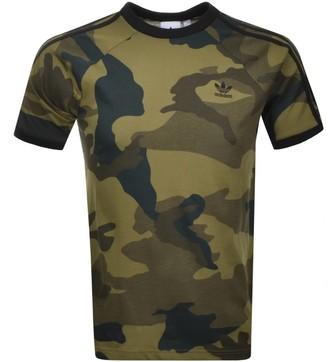 adidas Camouflage 3 Stripe T Shirt Khaki