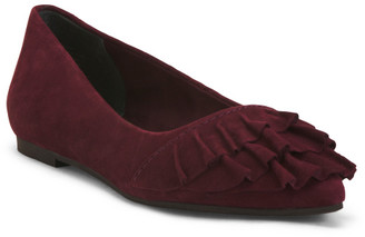 Ruffle Front Suede Flats